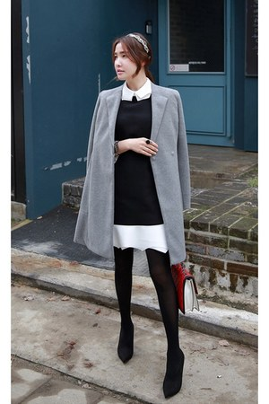 heather gray MIAMASVIN coat - white MIAMASVIN dress - black MIAMASVIN heels