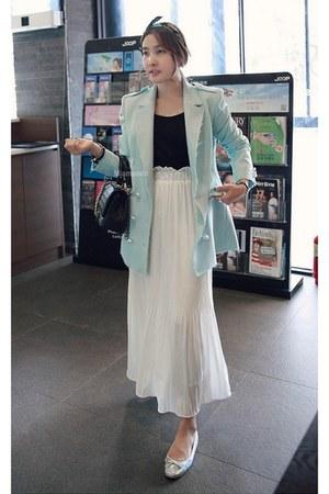 aquamarine MIAMASVIN jacket - MIAMASVIN bag - white MIAMASVIN skirt