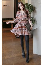 MIAMASVIN dress - MIAMASVIN tights - light brown Chanel bag