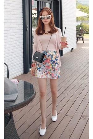 light pink MIAMASVIN cardigan - silver MIAMASVIN skirt - MIAMASVIN heels