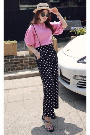 bubble gum MIAMASVIN blouse - black MIAMASVIN pants - MIAMASVIN sandals