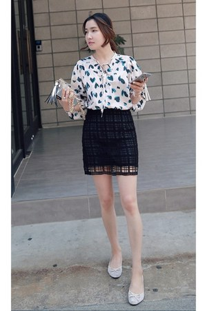 light pink MIAMASVIN blouse - black MIAMASVIN skirt - silver MIAMASVIN heels