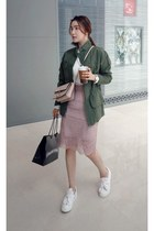 army green MIAMASVIN jacket - light pink MIAMASVIN skirt - sneakers