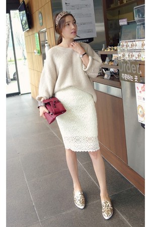 beige MIAMASVIN sweater - white MIAMASVIN skirt - MIAMASVIN loafers