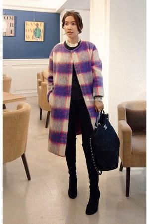 purple MIAMASVIN coat - knee-high boots MIAMASVIN boots - black MIAMASVIN jeans