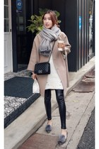 tan MIAMASVIN coat - black MIAMASVIN leggings - heather gray MIAMASVIN flats