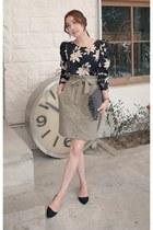 black MIAMASVIN blouse - beige MIAMASVIN skirt - MIAMASVIN pumps