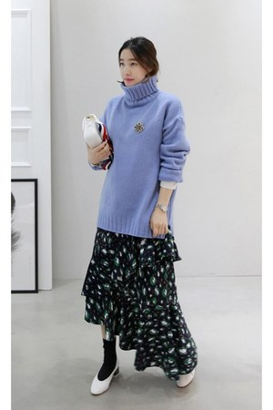 sky blue MIAMASVIN sweater - black MIAMASVIN dress