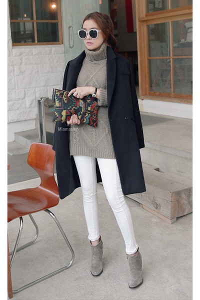 MIAMASVIN boots - dark gray MIAMASVIN coat - silver skinny jeans MIAMASVIN jeans