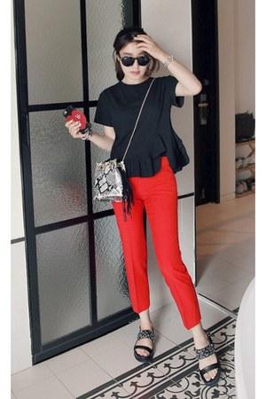 red MIAMASVIN pants - black MIAMASVIN top - MIAMASVIN flats