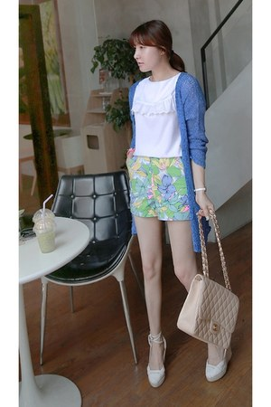 white MIAMASVIN blouse - eggshell MIAMASVIN bag - aquamarine MIAMASVIN shorts