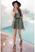 army green MIAMASVIN dress - MIAMASVIN sunglasses - black MIAMASVIN sandals