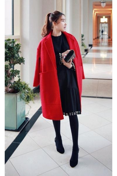 red MIAMASVIN coat - black MIAMASVIN dress - MIAMASVIN heels