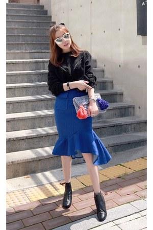 MIAMASVIN boots - black MIAMASVIN sweater - blue MIAMASVIN skirt