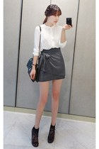 heather gray MIAMASVIN skirt - black MIAMASVIN shoes - black Chanel bag
