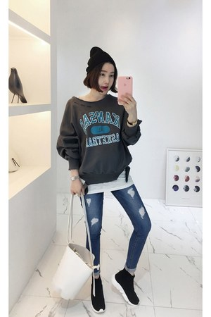 navy MIAMASVIN jeans - charcoal gray MIAMASVIN sweatshirt