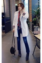 white MIAMASVIN coat - black MIAMASVIN boots - navy MIAMASVIN jeans