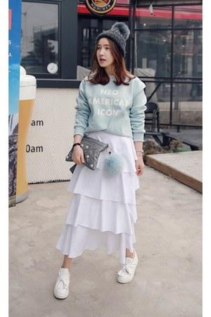 white MIAMASVIN skirt - aquamarine MIAMASVIN sweatshirt - MIAMASVIN sneakers