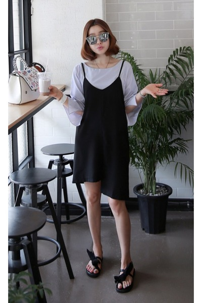 white striped blouse MIAMASVIN top - black MIAMASVIN dress