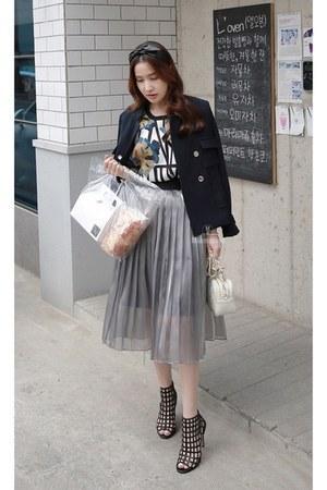 dark gray MIAMASVIN jacket - MIAMASVIN t-shirt - silver MIAMASVIN skirt