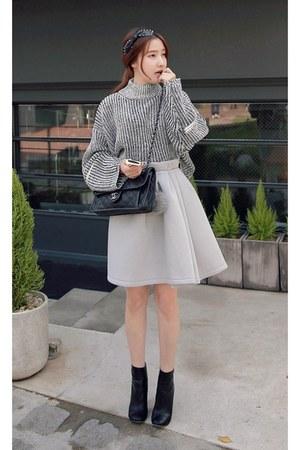 black MIAMASVIN boots - heather gray MIAMASVIN sweater - silver MIAMASVIN skirt