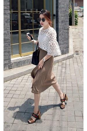 white MIAMASVIN top - light brown MIAMASVIN skirt - chunky heels Gucci heels