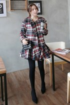 ruby red MIAMASVIN coat - MIAMASVIN tights - charcoal gray MIAMASVIN bag