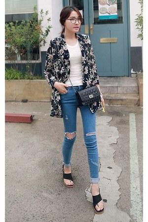 dark gray MIAMASVIN jacket - sky blue MIAMASVIN jeans - white MIAMASVIN top