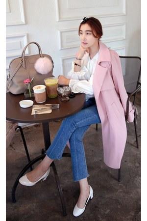 pink MIAMASVIN coat - navy MIAMASVIN jeans - white MIAMASVIN blouse