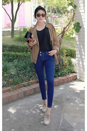 camel MIAMASVIN jacket - navy MIAMASVIN jeans - black MIAMASVIN top