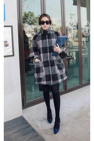 light pink MIAMASVIN coat - heather gray MIAMASVIN skirt - black MIAMASVIN pumps