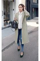 off white MIAMASVIN coat - navy MIAMASVIN jeans - dark green MIAMASVIN heels