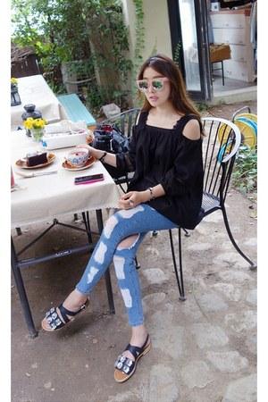 black MIAMASVIN blouse - blue MIAMASVIN jeans - light pink MIAMASVIN glasses