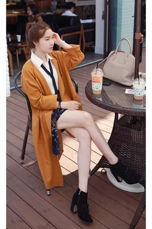 black MIAMASVIN boots - burnt orange MIAMASVIN coat - white MIAMASVIN blouse