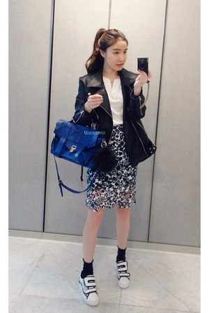 black MIAMASVIN jacket - blue MIAMASVIN skirt