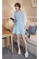 light blue MIAMASVIN dress - black leather bag Chanel bag