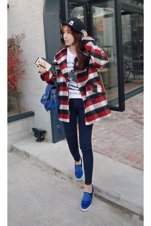 ruby red plaid coat MIAMASVIN coat - navy MIAMASVIN jeans