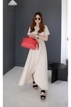 eggshell basic t-shirt MIAMASVIN top - wrap maxi skirt MIAMASVIN skirt