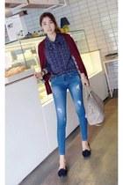 black MIAMASVIN shoes - MIAMASVIN jeans - navy MIAMASVIN blouse