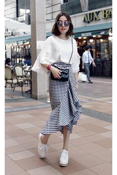 ivory MIAMASVIN blouse - navy MIAMASVIN skirt