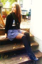 black H&M socks - gray Charlotte Russe skirt - green Heritage 1981 scarf - black
