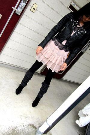 black H&M jacket - pink Topshop dress - black supre leggings - black Nine West s