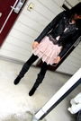 Black-h-m-jacket-pink-topshop-dress-black-supre-leggings-black-nine-west-s