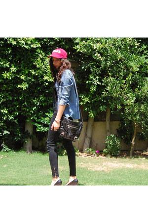sky blue denim shirt Zara shirt - black Steve Madden bag - black Zara pants