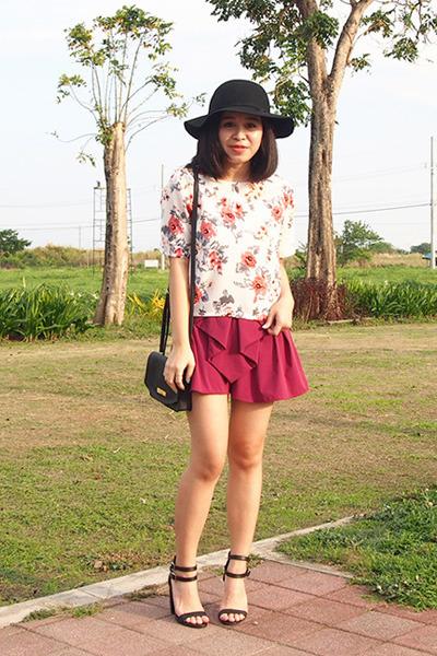 maroon Rianne Venice shorts - off white chiffon Aliexpress shirt