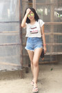 White-cropped-rianne-venice-shirt-sky-blue-high-waisted-bianca-shorts