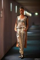 silver sass & bide vest - charcoal gray Tom Gunn boots - white sass & bide pants