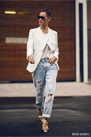 white zip blazer Choies blazer - gold Choies heels