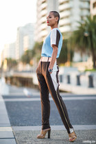 light blue Maurie & Eve top - dark brown Maurie & Eve pants