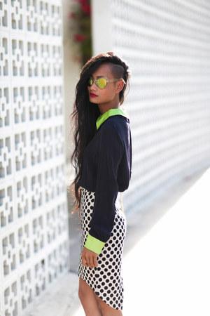 white Mossman skirt - navy navy neon silk Mossman shirt